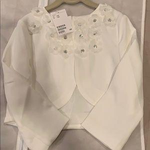NWT H&M off white bolero jacket with flowers